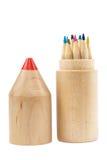 在木案件的铅笔在白色背景 库存照片