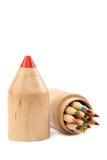 在木案件的铅笔在白色背景 库存图片