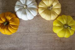在木桌上的五颜六色的南瓜从与拷贝空间的顶视图 免版税库存照片