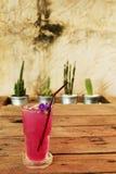 在木桌上的凉快的蝴蝶豌豆汁由在铝罐和粗砺的水泥墙壁的仙人掌装饰 图库摄影