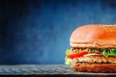 在木桌上的开胃自创汉堡与拷贝空间 库存图片