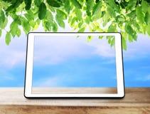 在木桌上的数字式片剂与绿色叶子和蓝天背景 免版税库存图片