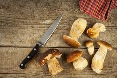 在木桌上的新鲜的牛肝菌蕈类蘑菇 收集可口食物的蘑菇 图库摄影