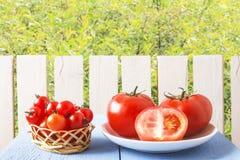 在木桌上的有机蕃茄在木篱芭和绿色树背景的土气庭院里  在柳条筐的西红柿 免版税库存图片