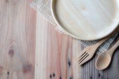 在木桌上的木板材 库存照片