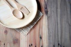 在木桌上的木板材 免版税图库摄影
