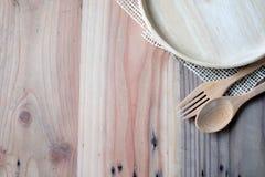在木桌上的木板材 免版税库存图片