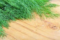 在木桌上的束新鲜的莳萝草本 免版税库存照片