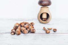 在木桌上的榛子与在蘑菇型胡桃钳的一枚坚果 免版税库存照片