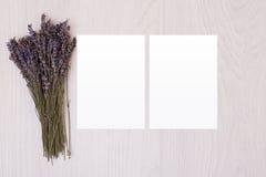 在木桌上的白纸用淡紫色 砖灰色纸棍子磁带墙壁白色 明信片 库存图片