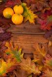 在木桌上的秋叶 免版税库存图片