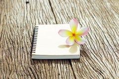 在木桌上的笔记本和赤素馨花花 库存图片