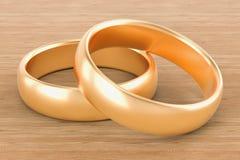 在木桌上的金婚圆环 3d翻译 皇族释放例证
