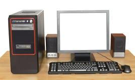 在木桌上的黑台式计算机 库存图片
