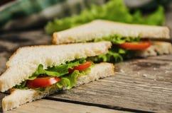 在木桌上的素食鲜美三明治 库存照片