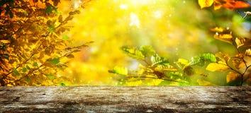 在木桌后的秋天背景 免版税库存图片