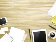 在木桌的工作地点元素 免版税图库摄影