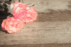 在木桌的桃红色玫瑰 库存照片