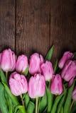 在木桌的桃红色郁金香 库存图片