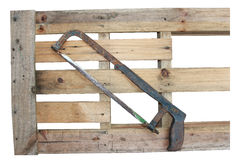 在木桌背景的木匠工具 免版税库存图片