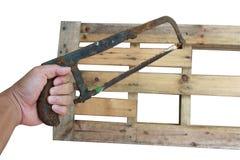 在木桌背景的木匠工具 免版税图库摄影