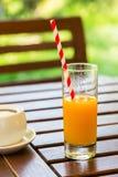 在木桌背景的橙汁 在户外绿色背景的汁液 免版税库存图片