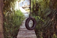 在木桥附近的轮胎摇摆 库存图片