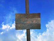 在木波兰人的空白的木标志 免版税库存图片