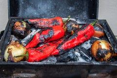 在木炭的新鲜的烤菜 烤在木炭格栅的胡椒和葱 库存照片