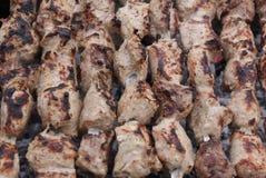 在木炭2的Kebabs 库存照片