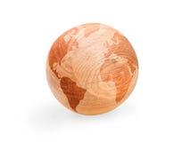 在木球的概要世界地图 库存照片