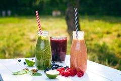 在木白色背景的蓝莓, spinachy和橙色圆滑的人本质上 杯圆滑的人用莓果和薄菏 莓果, le 库存照片