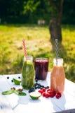 在木白色背景的蓝莓, spinachy和橙色圆滑的人本质上 杯圆滑的人用莓果和薄菏 莓果, le 库存图片