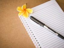 在木的笔记本的笔 库存图片
