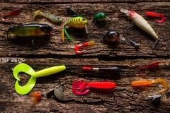 在木的诱饵渔 库存照片