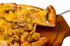 在木盘子的开胃蘑菇薄饼乳酪 免版税图库摄影