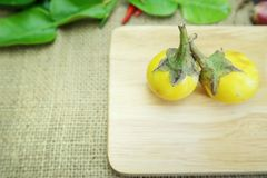 在木盘的泰国茄子 免版税库存照片