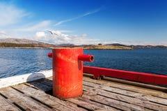 在木码头的红色停泊系船柱 库存图片