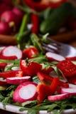 在木碗的新鲜的红色萝卜在有菜、草本和spicies的,顶视图,选择聚焦板材中 免版税库存图片
