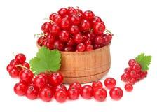 在木碗的红浆果有在白色背景隔绝的绿色叶子的 健康的食物 库存图片