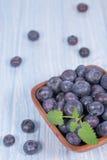 在木碗的蓝莓 库存照片