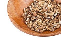在木碗的螺母 免版税库存照片