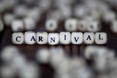 在木立方体写的狂欢节词 免版税库存照片