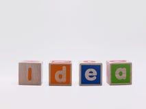 在木立方体的想法 库存图片