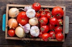 在木箱的新鲜蔬菜 库存图片