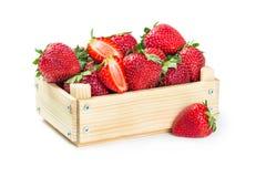 在木箱的草莓 免版税图库摄影