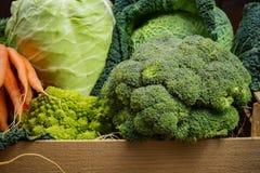 在木箱,收获的绿色和橙色新鲜蔬菜 免版税库存图片