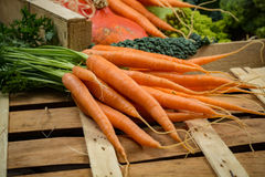 在木箱,收获的绿色和橙色新鲜蔬菜 免版税库存照片