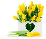 在木篮子的春天黄色郁金香 免版税图库摄影