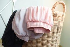 在木篮子的薄绸的裙子在家早晨,特写镜头 免版税库存照片